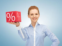 Woman with big percent box Royalty Free Stock Photo