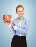 Woman with big percent box Stock Image