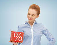 Woman with big percent box Royalty Free Stock Image