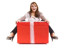 Woman big present Royalty Free Stock Images