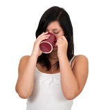 Woman with big red cup Stock Photo