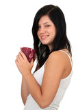 Woman with big red cup Stock Photos