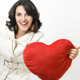 Woman with a big red heart Stock Photo