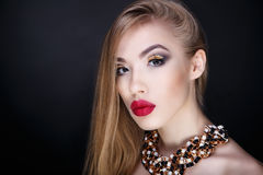 Woman big red lips Royalty Free Stock Photos