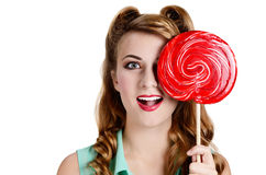 Woman with big red  lollipop Stock Photography