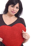 Woman with big red plush heart Royalty Free Stock Image
