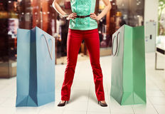Woman and big shopping bags Stock Image