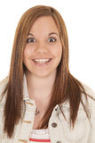 Woman big smile looking Royalty Free Stock Photography