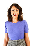 Woman with big smile and shock Royalty Free Stock Photos