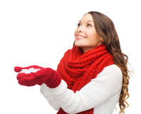 Woman with big snowflake Royalty Free Stock Images