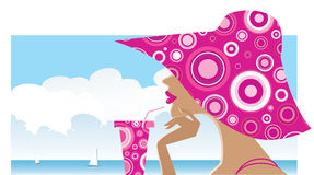 Woman in a big spotted hat. Vector illustration of a women in a big spotted pink hat drinking cocktail on the beach stock illustration
