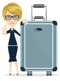 Woman with big suitcase Royalty Free Stock Image