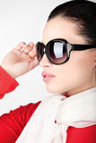 Woman with big sun glasses. Pretty woman with big sun glasses stock photography