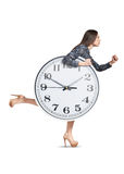 Woman and big white clock Royalty Free Stock Photo