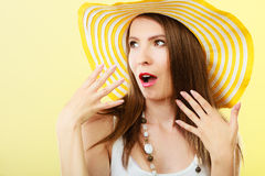 Woman in big yellow summer hat. Stock Images