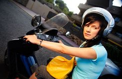 Woman on the bike Royalty Free Stock Photography