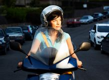 Woman on the bike Stock Photos