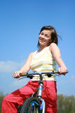 Woman and bike. Young woman and bike - break Stock Photos