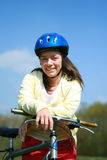 Woman and bike Royalty Free Stock Photos