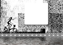 Woman on bike. Black and white illustration of a woman riding a bike, white square for text Royalty Free Stock Photography