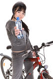 Woman on bike Stock Photo