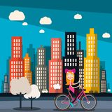 Woman on Bike with City Skyscrapers. On Background royalty free illustration