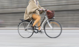 Woman on bike Stock Image