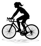 Woman Bike Cyclist Riding Bicycle Silhouette. A woman bicycle riding bike cyclist in silhouette royalty free illustration
