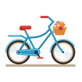 Woman bike flat. Woman bike. Bicycle on white background.Flat style vector illustration Stock Image