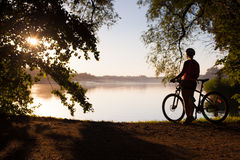 Woman on a Bike, girls Royalty Free Stock Images