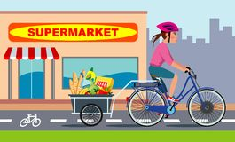 Woman on bike with groceries Royalty Free Stock Photos