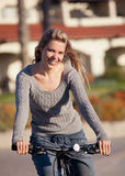 Woman bike ride Stock Photo