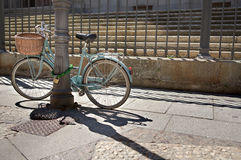 Woman bike in Salamanca streets Stock Photography