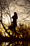 Woman with bike silhouette Stock Photography