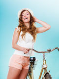 Woman with bike. Summer fashion and recreation. Stock Images