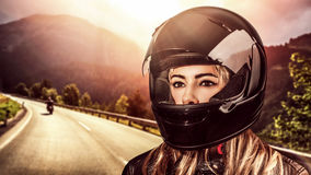 Woman biker Stock Image