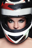 Woman in biker helmet Royalty Free Stock Photography