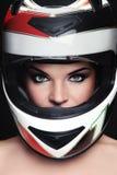 Woman in biker helmet royalty free stock photography