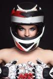 Woman in biker helmet stock images
