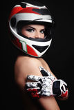 Woman in biker helmet stock photo