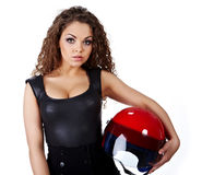 Woman with  biker helmet Stock Photography