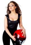 Woman with  biker helmet Stock Images