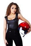 Woman with  biker helmet Royalty Free Stock Photography
