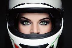 Woman in biker helmet stock image