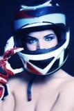 Woman in biker helmet stock photography