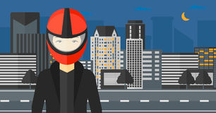 Woman in biker helmet. Royalty Free Stock Photos