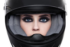 Woman in biker helmet Royalty Free Stock Photo
