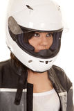 Woman biker helmet look side Stock Photography