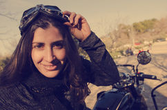 Woman biker portrait Royalty Free Stock Photos