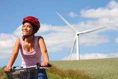 Woman biking Stock Image